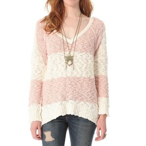 Free People | Pink and White Songbird Sweater